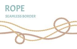 Seil, nahtlose Grenze der Schnur Faden, Seeschnur lokalisiert auf weißem Hintergrund stock abbildung