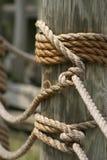 Seil und Holz Stockfotografie
