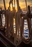 Seile bei Sonnenuntergang stockbilder