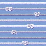 Seile und nahtloses Muster der Knoten Lizenzfreies Stockbild