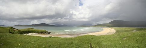 Seilebost panorama. A panorama of Seilebost Beach on a showery day, South Harris, Western Isles, Scotland stock photography