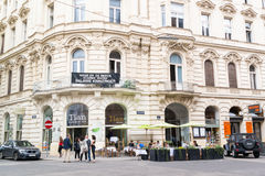 Seilerstatte street with restaurant in downtown Vienna, Austria Royalty Free Stock Photography