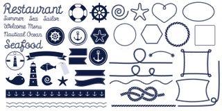 Seilknoten Schiffstauknoten Satz Seeseilknoten, -ecken und -rahmen stockfotos