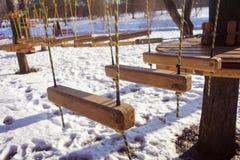 Seilpark im Winter Lizenzfreie Stockfotos