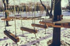 Seilpark im Winter Stockbild