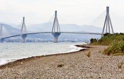 Seilzug blieb Brücke von Patra in Griechenland Lizenzfreies Stockfoto