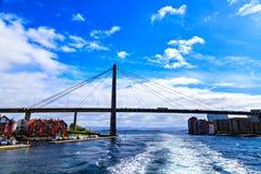 Seilzug-gebliebene Brücke in Stavanger, Norwegen Stockbilder