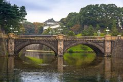 Seimon stonebridge to the Imperial Palace in Tokyo Stock Photography