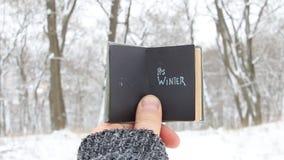 Sein Winter - Weinlesebuch mit Aufschrift stock video footage
