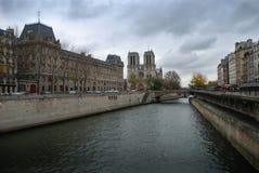 seina de Paris de notre de dame Image libre de droits