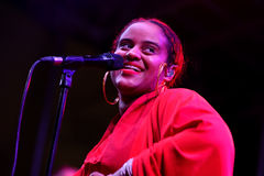 Seinabo Sey (soul pop singer signed to Universal Music label) performs at Barcelona Accio Musical (BAM) Stock Image