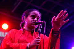Seinabo Sey (soul pop singer signed to Universal Music label) performs at Barcelona Accio Musical Royalty Free Stock Photography