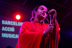 Seinabo Sey soul pop singer signed to Universal Music label performs at Barcelona Accio Musical. BARCELONA - SEP 23: Seinabo Sey soul pop singer signed to Royalty Free Stock Images