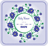 Seine Babyparty - ein Junge, blaue Blumen Lizenzfreies Stockbild