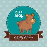 Seine Babypartykarteneinladung ein Junge mit nettem Bären lizenzfreie abbildung