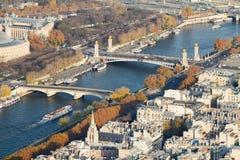 Seine-Brücken von oben, Paris Stockfotos