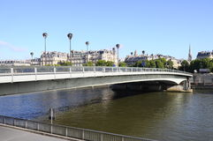 Seine and bridge in Paris on morning Royalty Free Stock Images