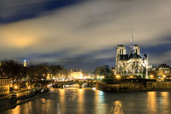 Seine cathedral at night Stock Photography