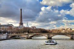 Seine Eiffel boat Stock Photo