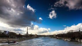 Seine Eiffel timelapse stock video