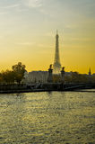 Seine and Eiffel Tower at golden hours - Paris. Seine and Eiffel Tower at golden hours - bridge alexander III - Paris Royalty Free Stock Photo