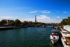 Seine and Eiffel Tower from Pont des Invalides, Paris royalty free stock images