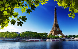 Seine em Paris com torre Eiffel Fotos de Stock Royalty Free