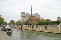Seine embankment in autumn weather. Royalty Free Stock Images