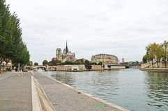 Seine embankment in autumn weather. Stock Images