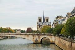 Seine embankment in autumn weather. Stock Image