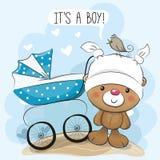 Seine Grußkarte ein Junge mit Kinderwagen Lizenzfreies Stockbild