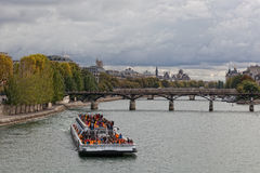 Seine invallning i Paris, Frankrike Arkivbilder