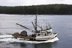 Seine-Netz-Fisch-Boot Lizenzfreies Stockbild