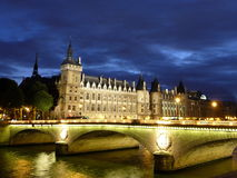 Seine at Night Stock Image
