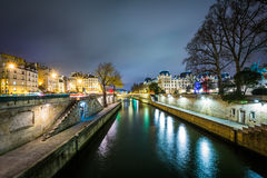 The Seine at night, in Paris, France. Royalty Free Stock Photo