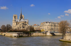 The Seine and Notre-Dame cathedral Stock Images