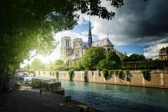 Seine and Notre Dame de Paris, Paris Stock Photos