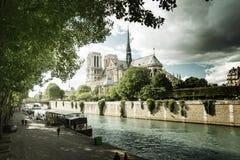 Seine and Notre Dame de Paris, Paris Stock Images