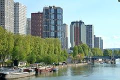 Seine Office Buildings. Paris office buildings along the Seine River in Paris Stock Photo
