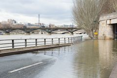 Seine is out of the banks in Paris Royalty Free Stock Images