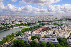 Seine panorama Paris. Paris and river Seine view from height of Eiffel Tower stock images