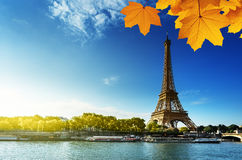 Seine in Paris with Eiffel tower in autumn season Stock Photography