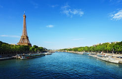 Seine in Paris with Eiffel tower Royalty Free Stock Images