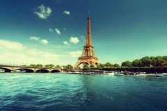 Seine in Paris with Eiffel tower in morning time Royalty Free Stock Image