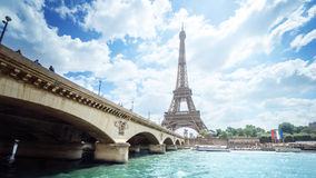 Seine in Paris with Eiffel tower in morning time Stock Photos