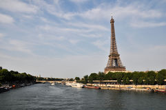 Seine in Paris with Eiffel tower Royalty Free Stock Image