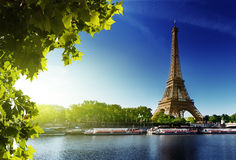 Seine in Paris with Eiffel tower. In sunrise time Stock Image