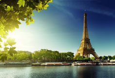 Seine in Paris with Eiffel tower Stock Photos