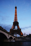 Seine in Paris with Eiffel tower Stock Images