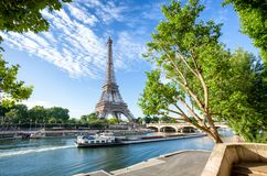Seine in Paris with Eiffel Tower on sunrise royalty free stock photography